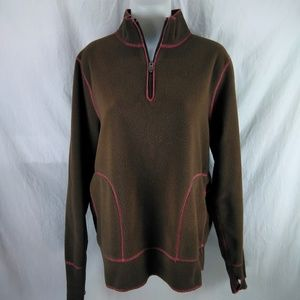 Life Is Good Brown w Pink Pullover Fleece Large